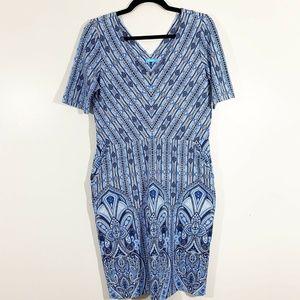 J McLaughlin Blue White V-Neck V-Back Sheath Dress